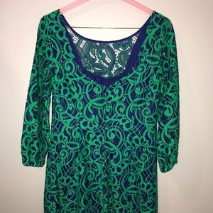 Green and blue lace Lilly dress